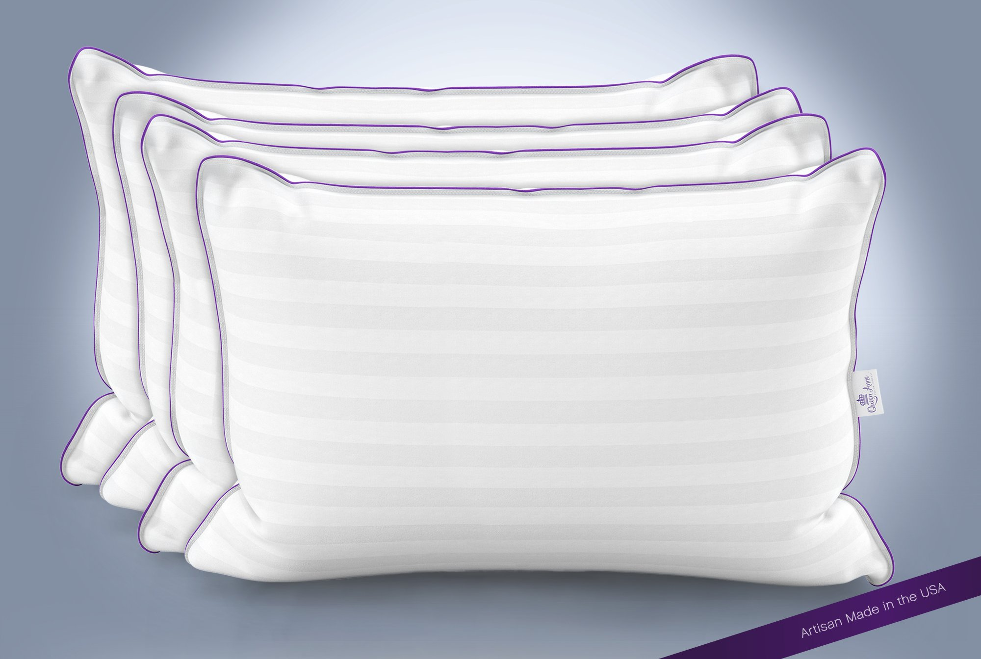 Queen Anne Heavenly Down Hypoallergenic Luxury Pillow (Set of 4) – Synthetic Down Alternative for Allergy Free Sleeping – Hotel Collection – USA Made (King Medium Fill)