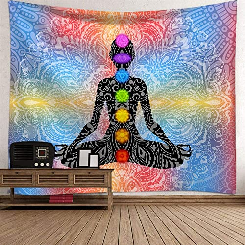 Chakra Tapestry Psychedelic Trippy Tapestry Yoga Meditation Zen Tapestry Hippie Bohemian Mandala Wall Hanging Tapestry Wall art Decor Blanket for Living Room Bedroom Dorm 59×90 Inches