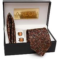 AXLON Men's Cotton Silk Necktie, Pocket Square, Cufflink (Multicolour, Free Size)