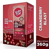 Yogabar Protein Chocolate Cranberry Bars - 360gm, 6 x 60 g (Box of 6 bars)