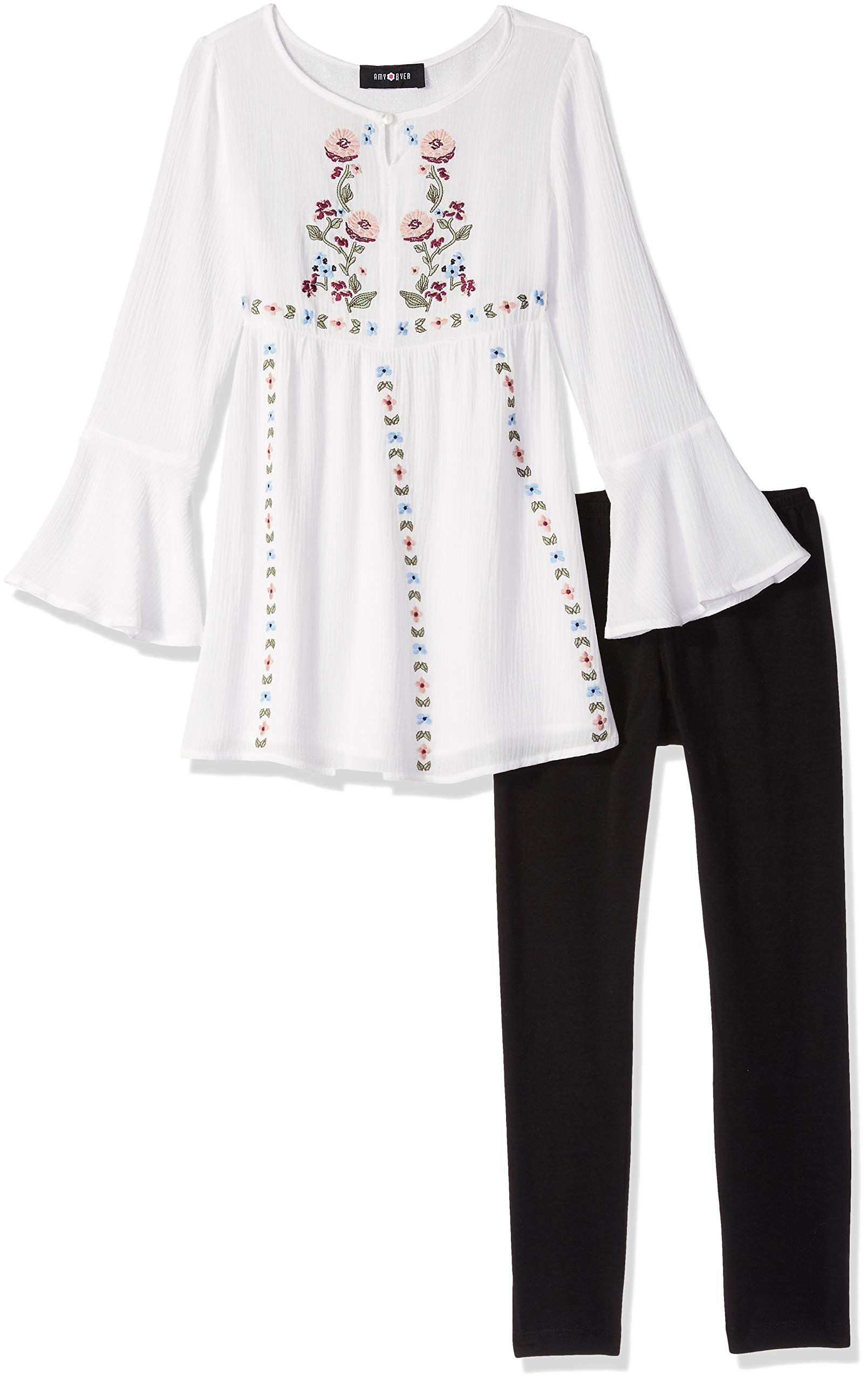 Amy Byer Big Girls' Long Sleeve Tunic and Legging Outfit Set, Ivory, S