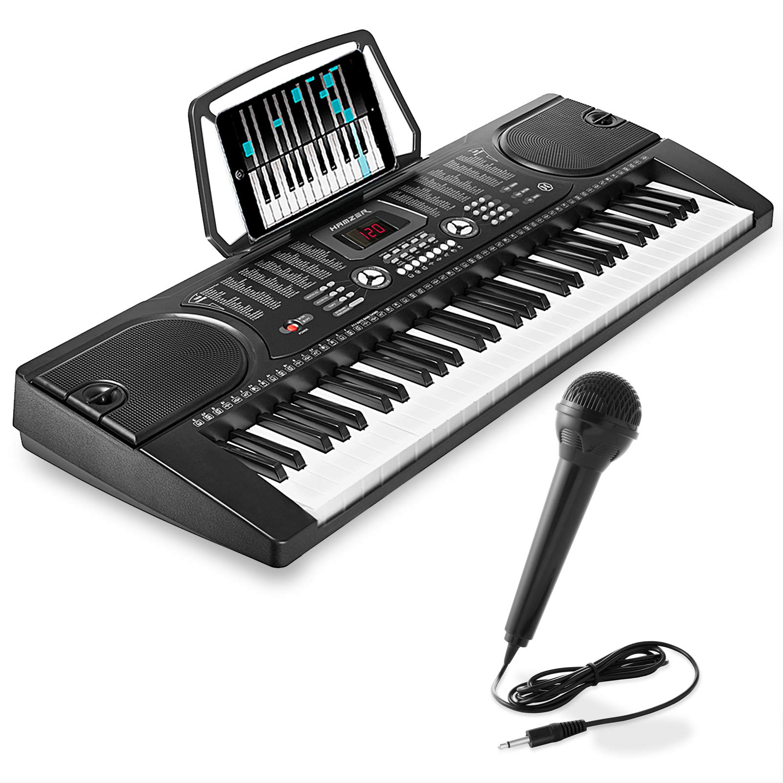 Hamzer 61-Key Digital Music Piano Keyboard - Portable Electronic Musical Instrument - with Microphone and Sticker Sheet by Hamzer