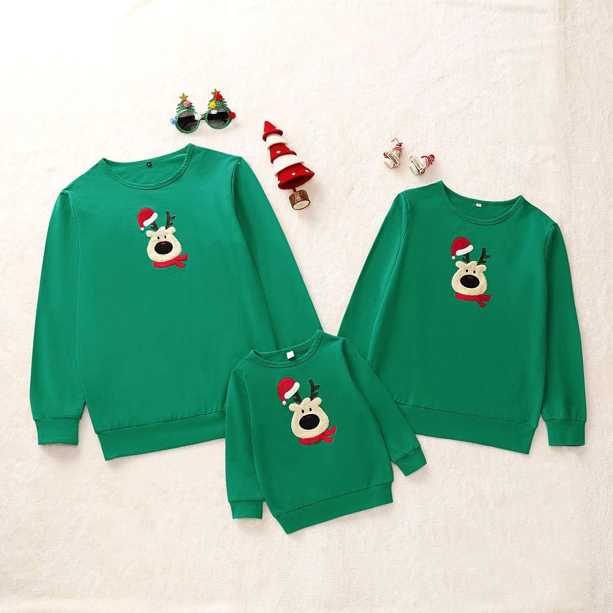 Matching Family Tees Christmas Shirts with Deer Printed Long Sleeve Tees Christmas Loungewear