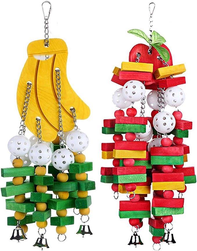 Cobeky 2 juguetes para masticar pájaros, tamaño grande, mediano, jaula para loros, guacamayos, cacatúas, eclectus, plátano