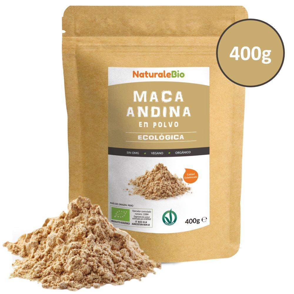 Maca Andina Ecológica en Polvo [ Gelatinizada ] 400g | Organic Maca Powder Gelatinized. 100% Peruana, Bio y Pura, extracto de raíz de Maca Organica.