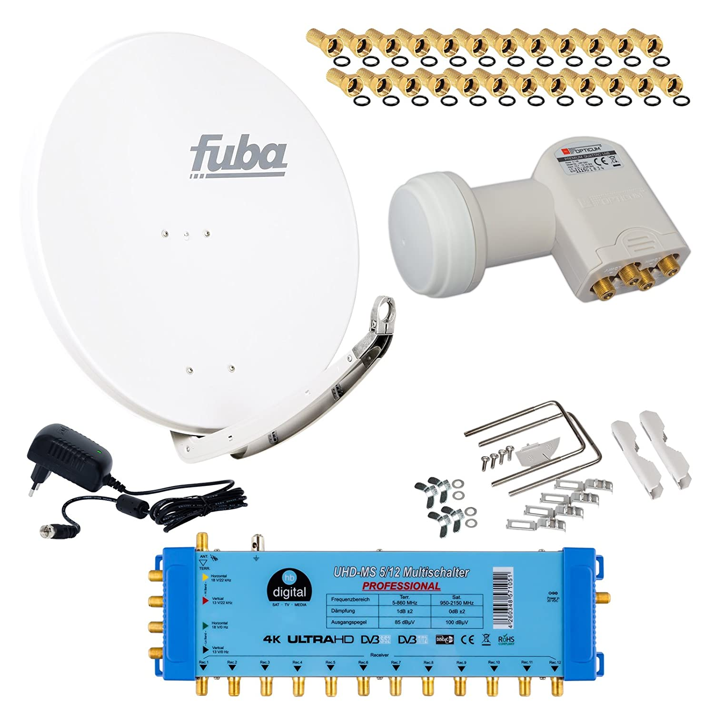 35 Vergoldete F-Stecker Gratis dazu Opticum LNB 0,1dB Full HDTV 4K FUBA 12 TEILNEHMER DIGITAL SAT ANLAGE DAA780A PMSE Multischalter 5//12