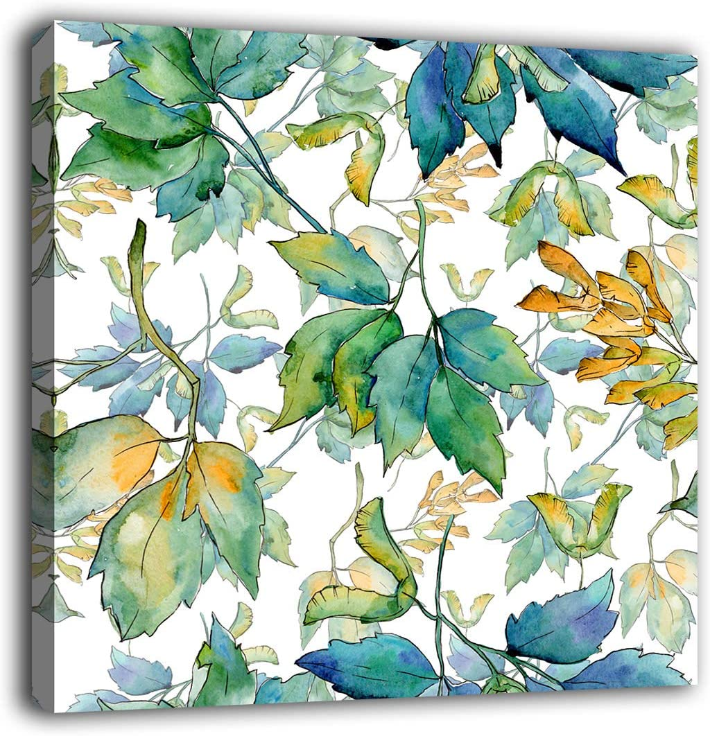 """Maple Leaves Wall Art Bathroom Wall Decor Botanical Watercolor Green Leaf Canvas Pictures Modern Artwork Contemporary Aquarelle Canvas Prints Bedroom Living Room Laundry Decor 24"""" x 24"""""""