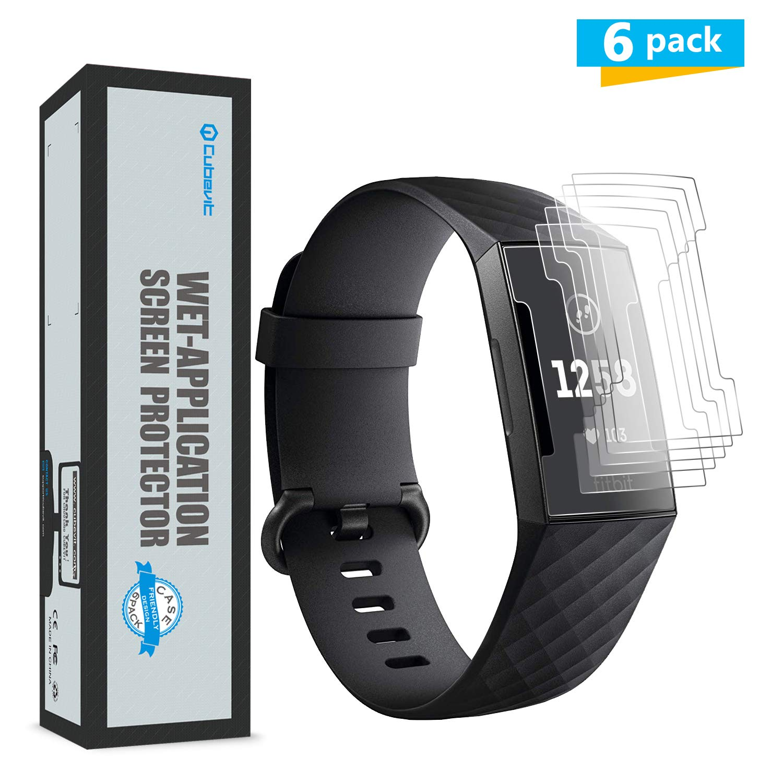 Cubevit - Protector de Pantalla para Fitbit Charge 3, 6 Unidades, Compatible con Cargador, no se despega ni se despega, película de TPU Transparente ...