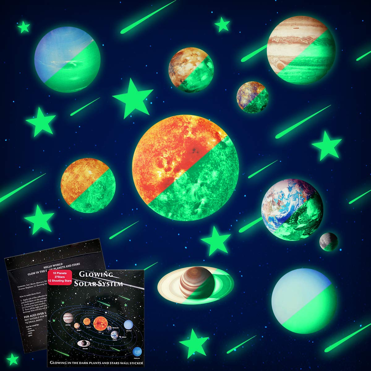 Glow In The Dark Stars And Planets Ceiling Wall Stickers Glowing Bright Solar System Wall Decals With 50pcs Planets Stars Shooting Stars For Kid Bedroom Living Room Buy Online In Dominica At