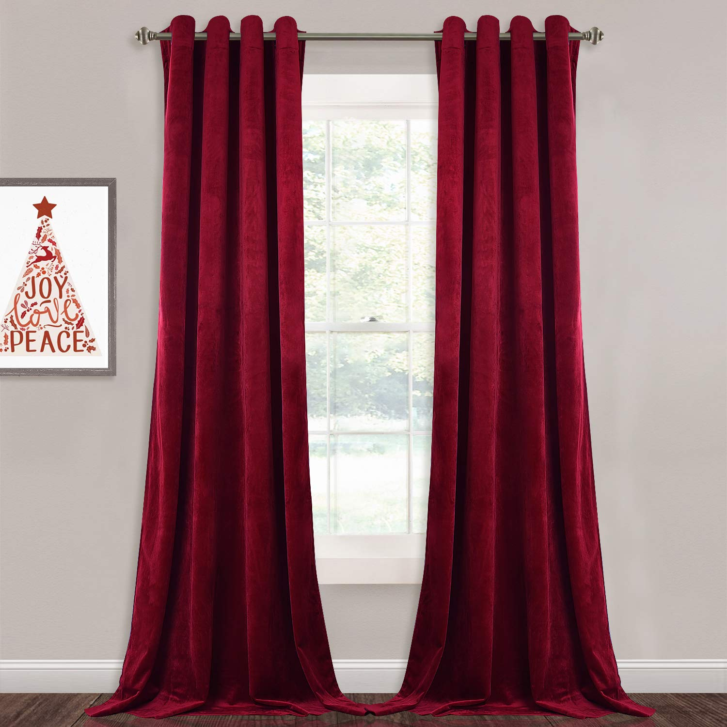 "Room Darkening Theater Velvet Curtains - Thick Heavy Duty Velvet Drapes with Rings Top Rustic Home Decor Window Dressing for Living Room/Holiday/Stage, Red, 52"" x 84"", 2 Pieces"