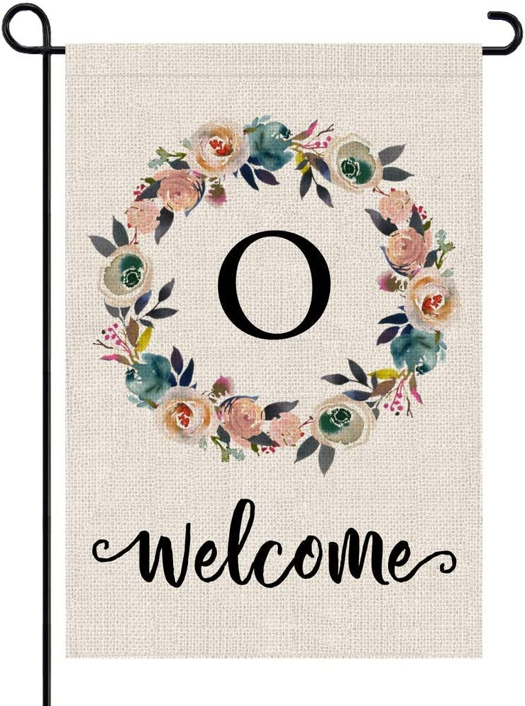 PARTY BUZZ Monogram Wreath Letter O Burlap Garden Flag Floral Initial, Double Sided, 12.5 x 18 Inch, Small Mini Outdoor Yard Flag