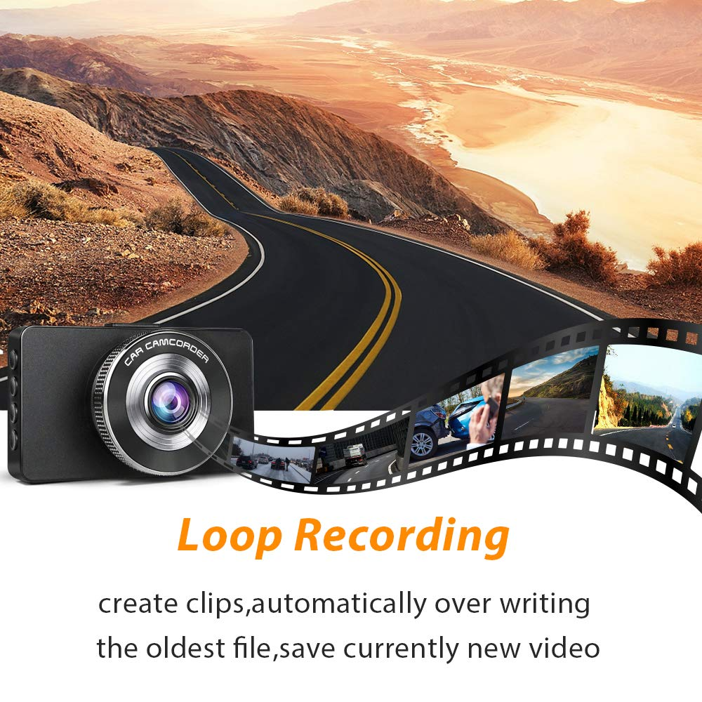 G-Sensor Parking Monitoring,Motion Detection LED Compensation Ananteke Dash Cam,Dashboard Camera 1080P HD,Driving Video Recorder with 3 Inch LCD