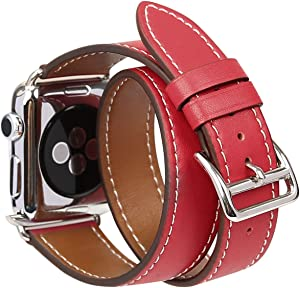 Compatible Apple Watch Band 44mm Genuine Leather Double Tour iwatch Bands Series 4 for Women Designer Replacement Strap for Apple iPhone Watch - Red