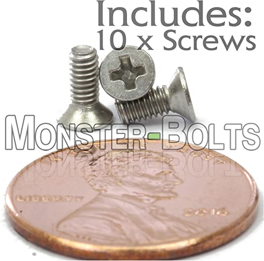 M2.5 x 10mm 2.5 10 Black Cross Flat Head Countersunk Screw x 10 Metric Thread