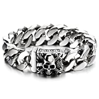 COOLSTEELANDBEYOND Mens Large Stainless Steel Curb Chain Bracelet with Fleur De Lis and Skull, Biker Gothic, Polished