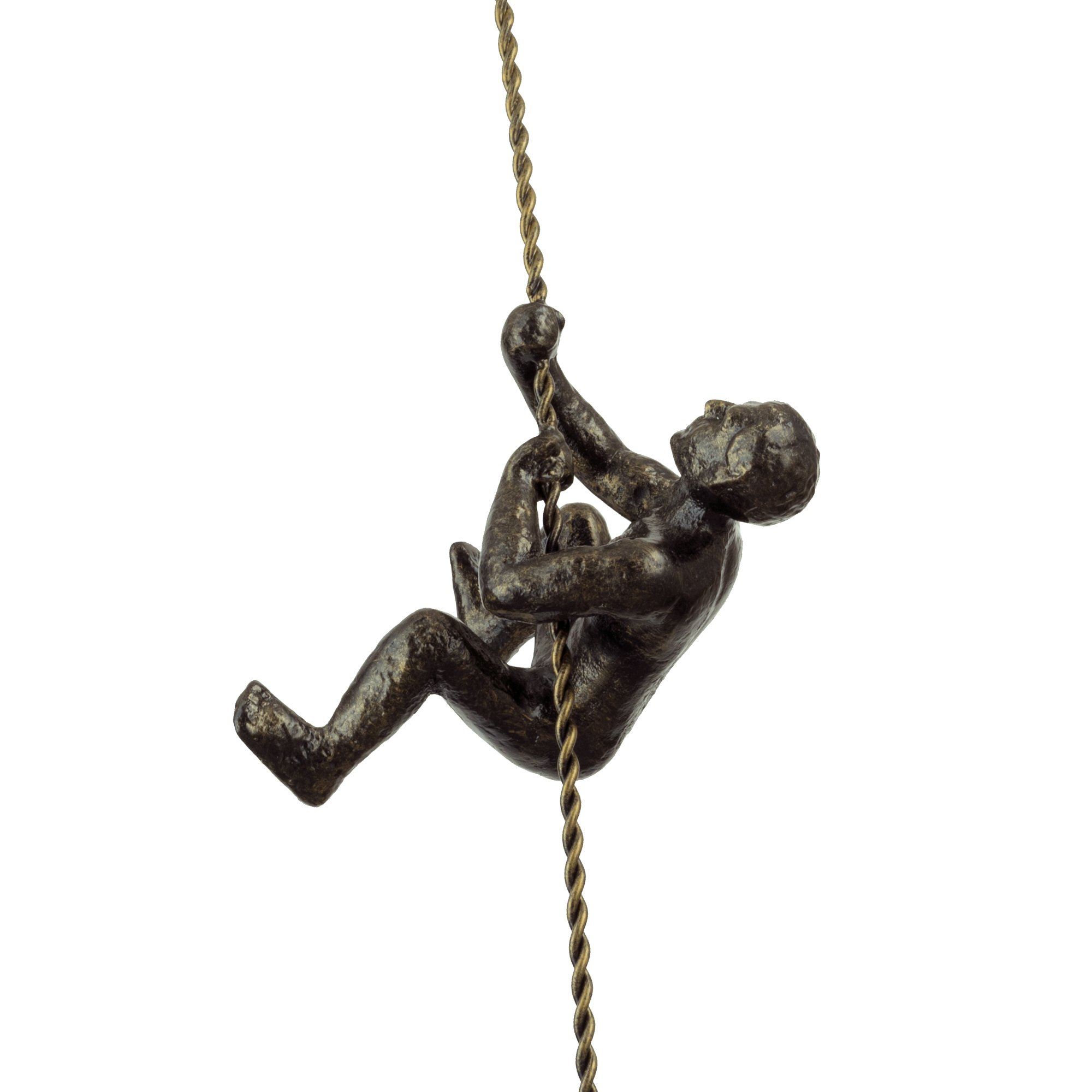 Kira Home Titan 6'' Climbing Man Metal Wall Sculpture, Hand-Painted Charcoal Gold Finish