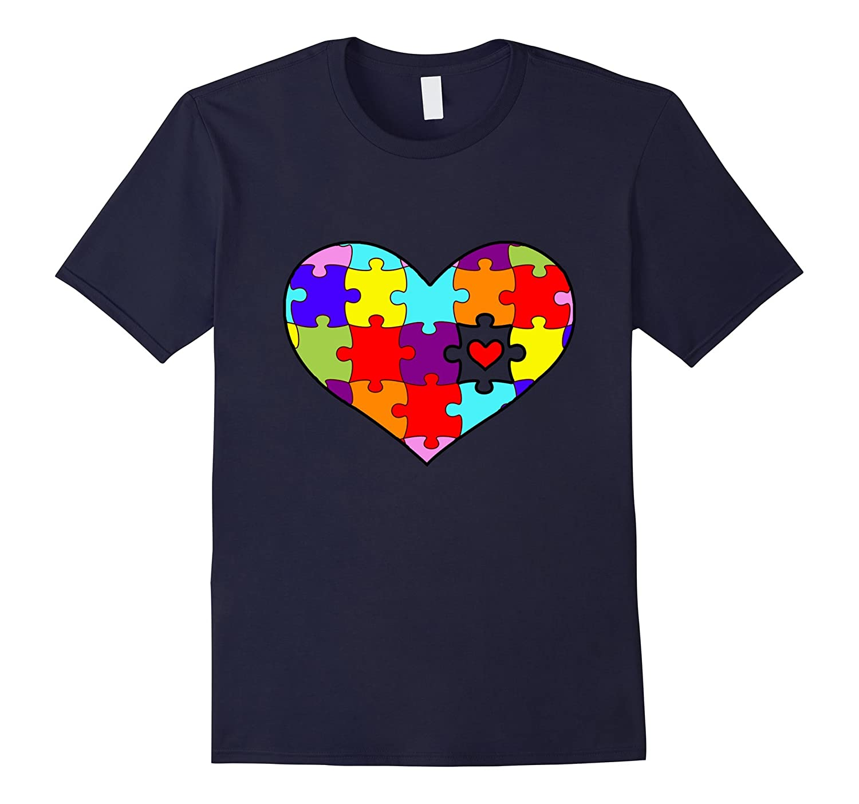 Autism Awareness Heart Puzzles Cute T-Shirt-FL