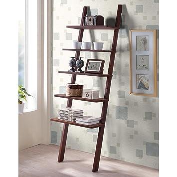 Geneva 5 Tier Wooden Leaning Ladder Bookshelf