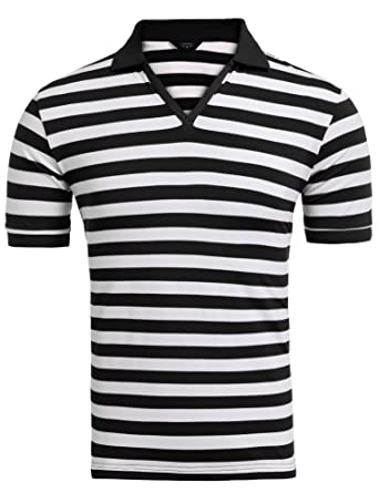 bd427570 COOFANDY Men's Fashion Polo Shirts Casual Cotton Striped Short Sleeve T- Shirt, Black White, Medium at Amazon Men's Clothing store: