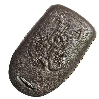 Coolbestda Leather Key Fob Remote Keyless Cover Case Protector Skin Jacket for 2020 2016 2015 Chevrolet Suburban LTZ Tahoe GMC Yukon Acadia Brown: Automotive