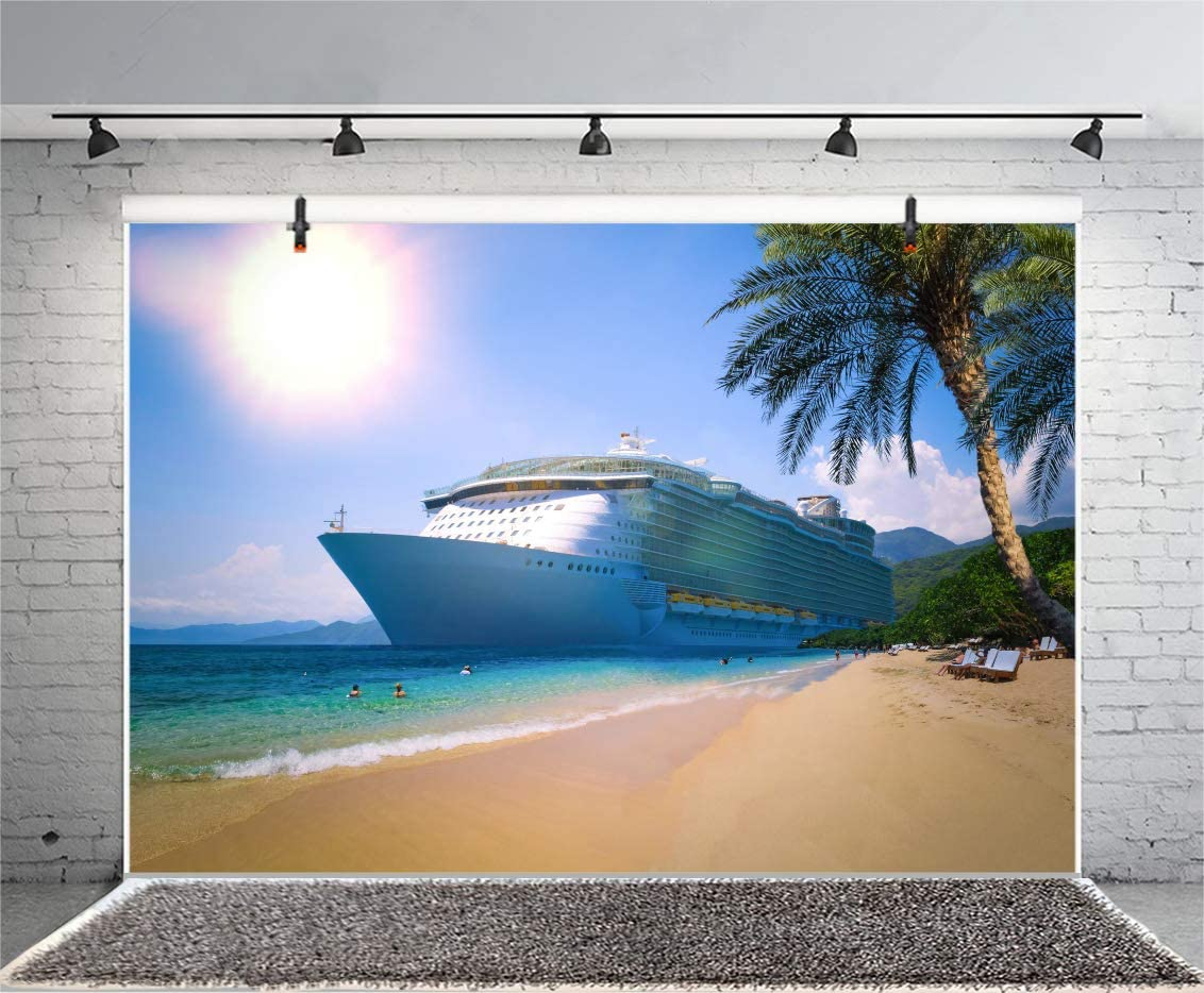AOFOTO 7x5ft Cruise Ship Backdrops for Party Seaside Sandbeach Tropical Tree Green Seawater Sun Photography Background Sea View Ocean Mountains Portrait Shooting Vinyl Photo Booth Prop