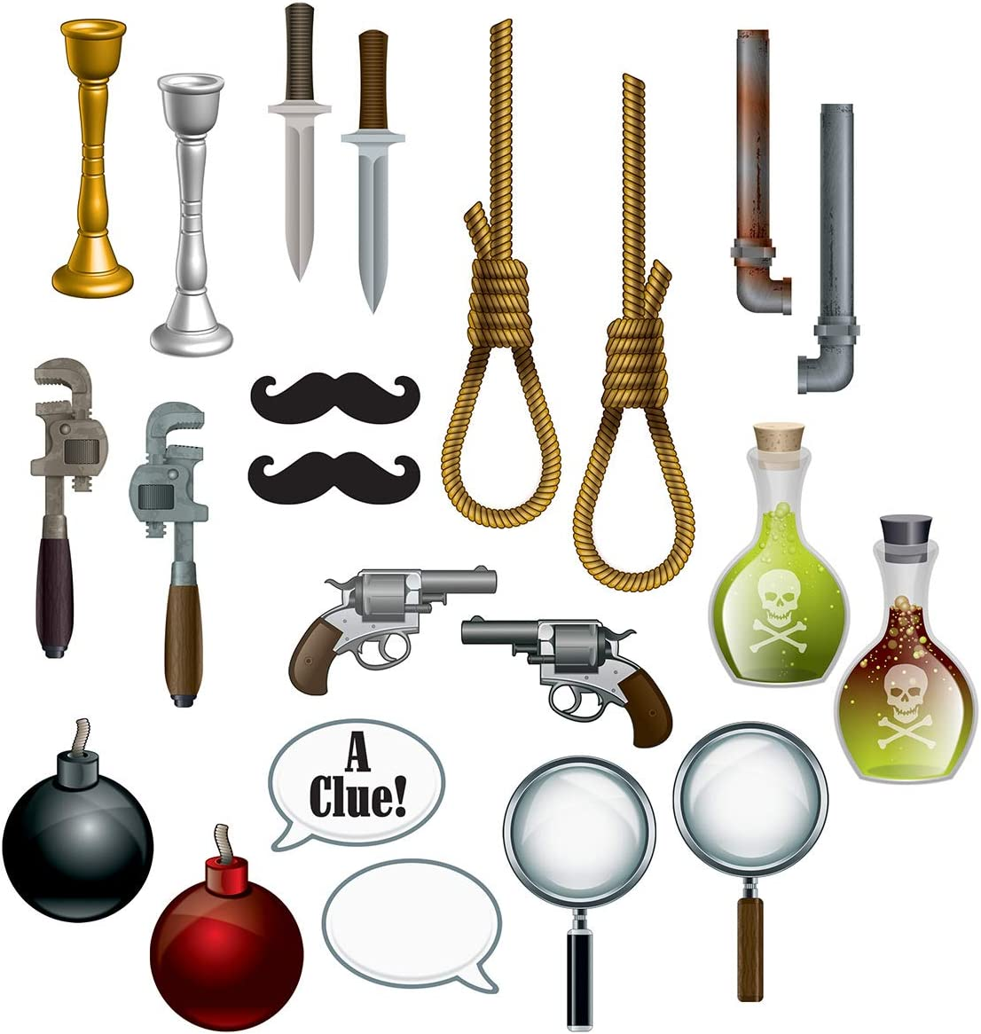 """Beistle 53397 Murder Mystery Photo fun signs, 22 Piece, 7""""-20¾"""", Multicolor"""