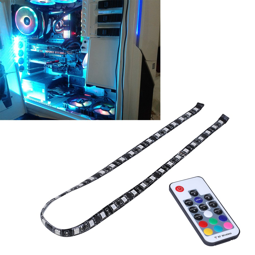 LEDdess PC RGB LED Light Strip RF Wireless Remote Control via Magnetic Computer Case Mid Tower (60cm, 5050 SMD 30leds, SATA Contact, H Series)