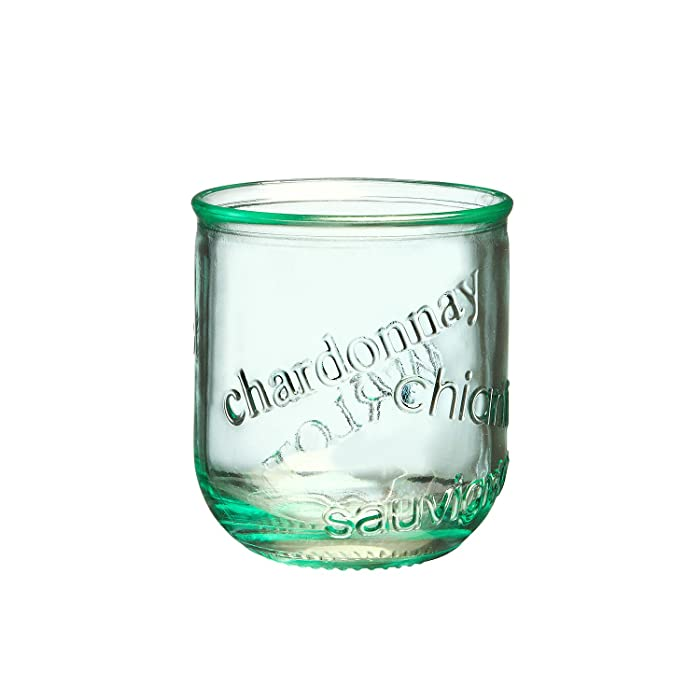 Amici Home Collection, 7AI4480S4R, Vino Stemless Italian Wine, Set of 4, 12 oz each, 12 fl. oz, Green Glass