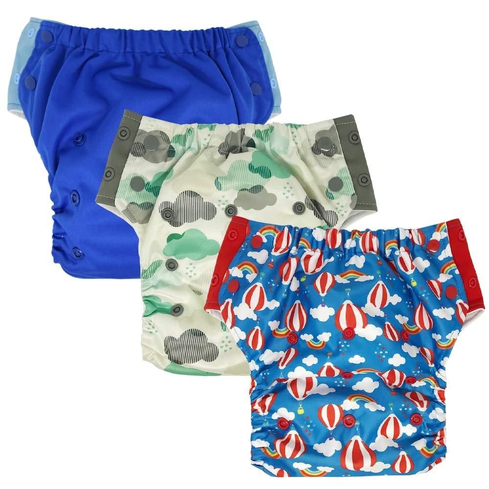 Hybrid Cloth Diaper - Reusable Training Pants or Reusable Swim Diaper, Newborn Baby to 10 Years (Size 2/15-35Lb, Boy 3)