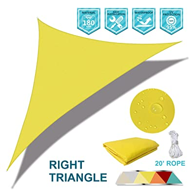 Coarbor Waterproof UV Block 12'x12'x17' Right Triangle Yellow Sun Shade Sail Canopy Triangle 180 GSM Polyester for Pergola Carport Awning Patio Yard- Customized: Garden & Outdoor
