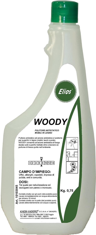 Elios - WOODY pulitore antistatico ad azione antistatica e lucidante per superfici in legno kg.0, 75 - cartone 12 flaconi x kg.075