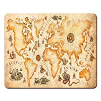 Onete Mouse Pads Large Vintage Ancient World Map Drawn with Dragons Sea Monsters...