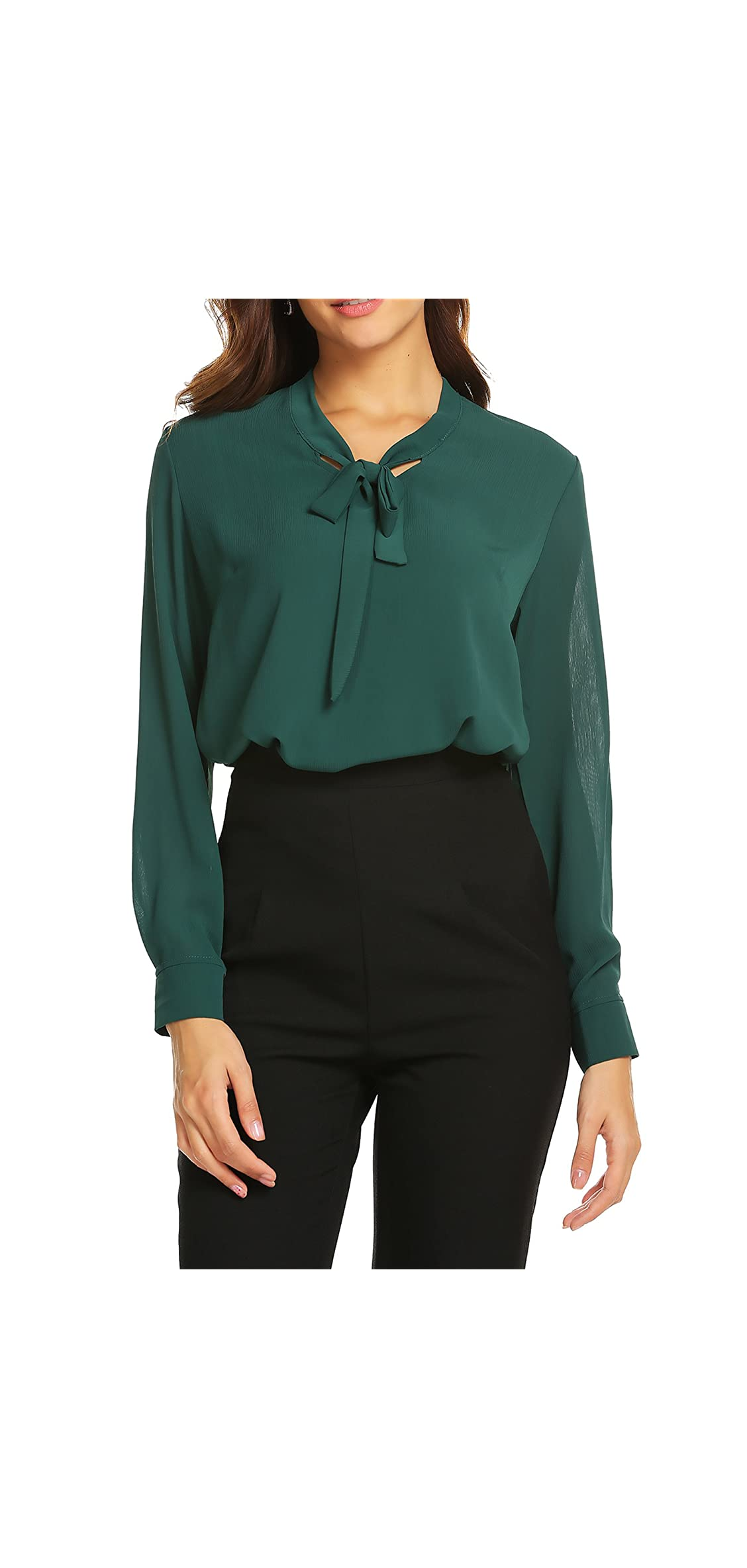Womens Bow Tie Neck Long/short Sleeve Casual Office Work