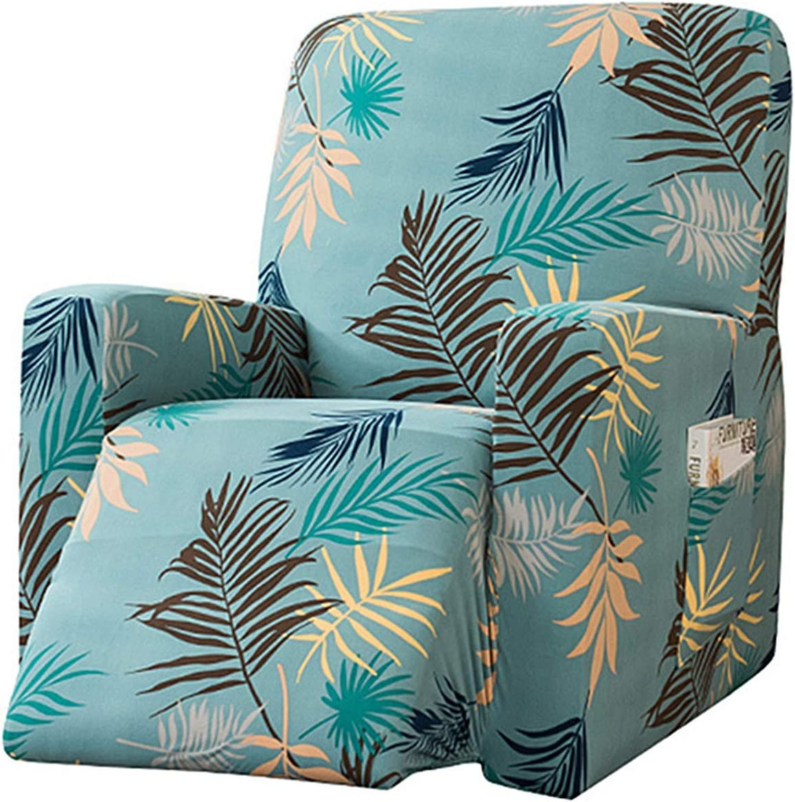 YUENA CARE Stretch Recliner Slipcovers Printed Chair Covers for Recliner Lazy Boy Furniture Protector with Side Pockets #1 One Size