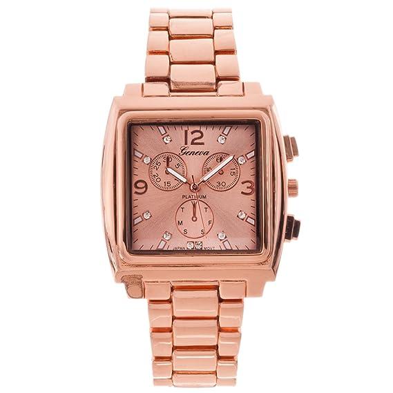 Geneva Platinum para mujer Rose oro tono cz acentuado con reloj