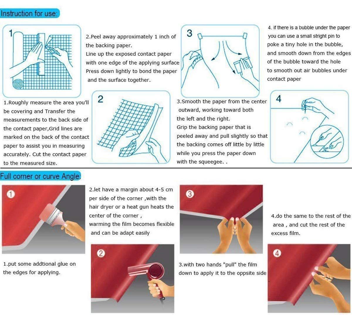 Blanco grano de madera de arce papel de contacto - Vinilo autoadhesivo para maletero para cuarto de baño gabinetes de cocina estantes de cajón mesa artes y ...