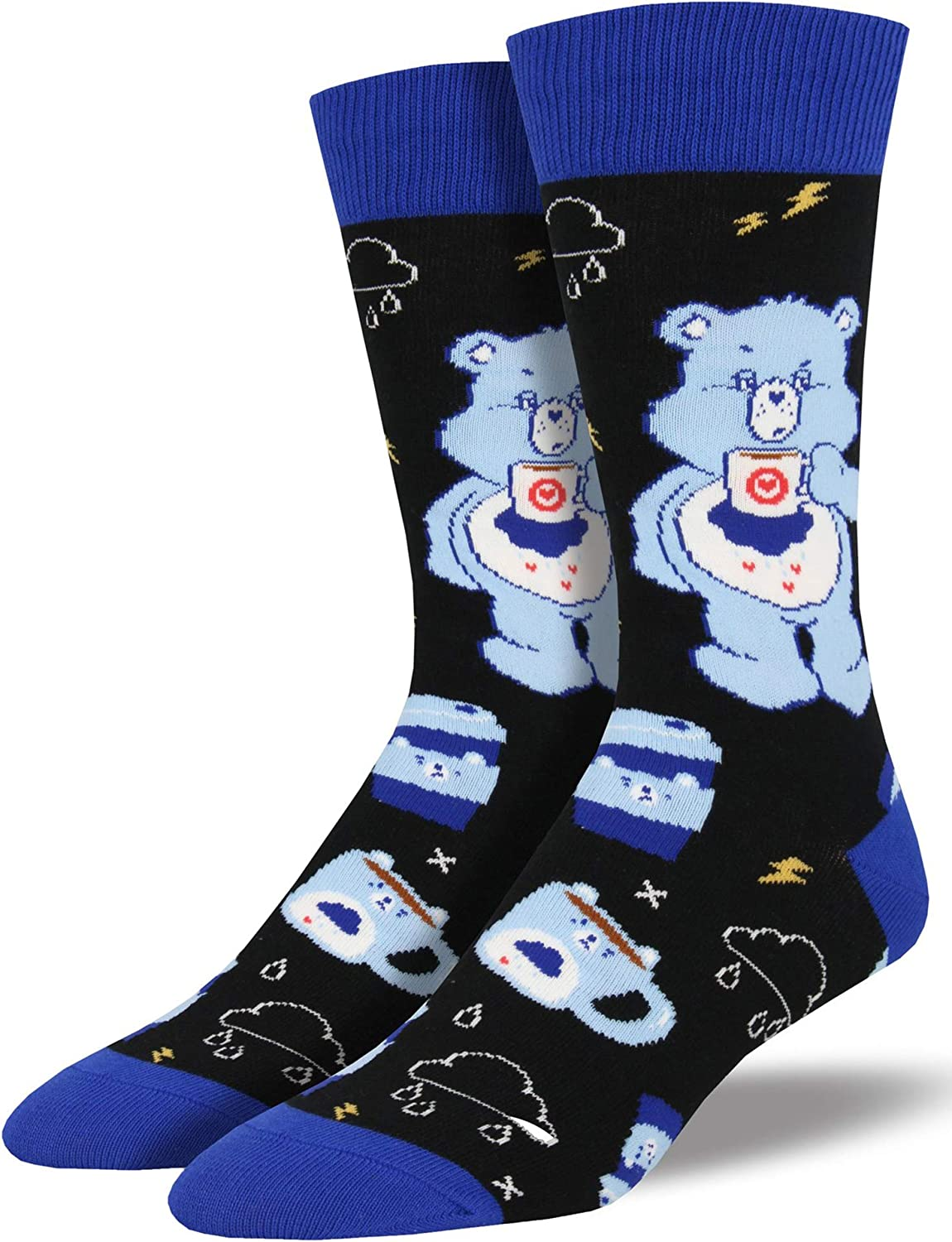 Socksmith Men's More Coffee Less Grumpy Care Bears Novelty Socks, Black: Shoes