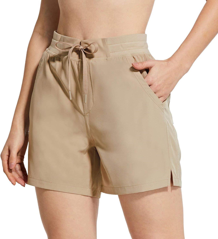"BALEAF Women's 5"" Hiking Shorts with Zip Pocket Quick Dry Athletic Running Shorts Elastic Waist : Sports & Outdoors"