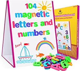 Star Right Magnetic Letters & Numbers with Easel for Kids - Educational Alphabet Magnets for Learning -Includes 104 Magnets with 1 Dry Erase Magnetic Easel - Learning Toys for 4+ Year Olds