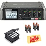 Zoom F4 MultiTrack Field Recorder Bundle with BCF-8 Battery Case, 8 AA Batteries, and Austin Bazaar Polishing Cloth