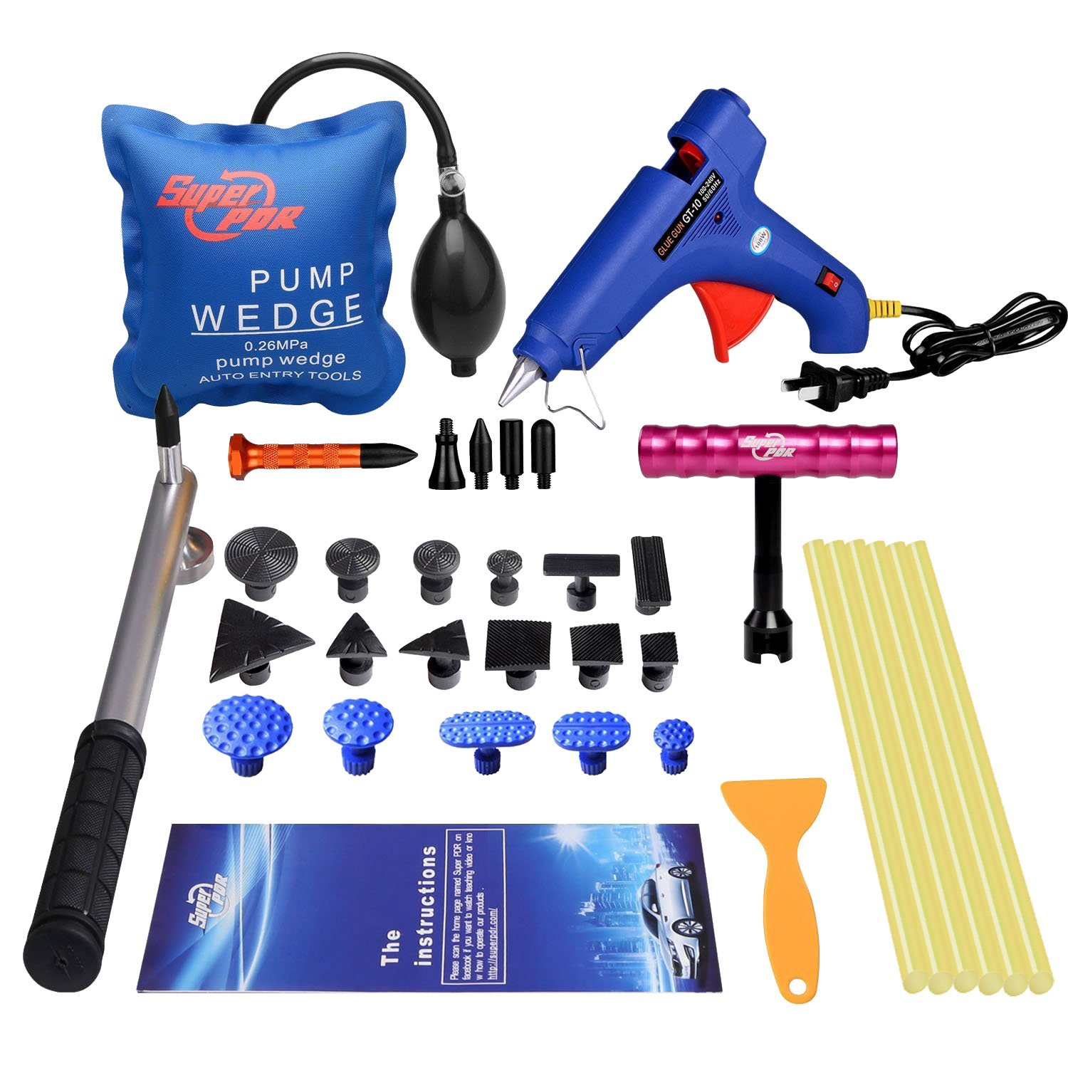 Super PDR 34pcs Auto Car Paintless Dents Repair Removal Tools Kits Dent Puller Mini T Slide Hammer With Suction Pull Tabs