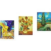 3 paneles de pinturas al óleo de obras