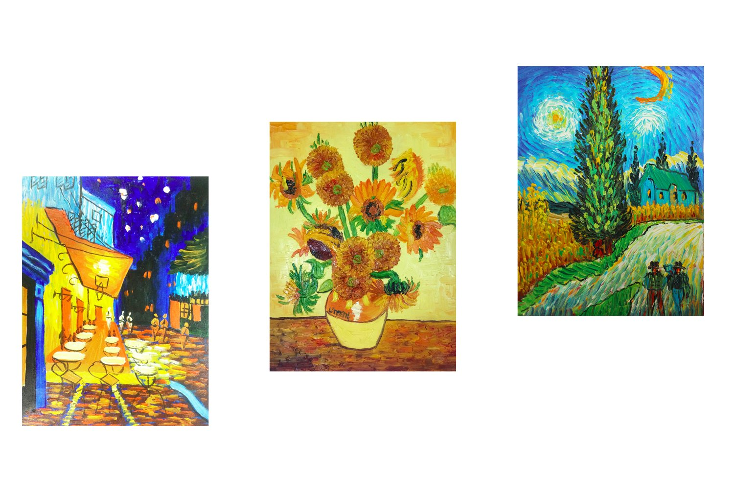 Fokenzary Hand Painted Oil Painting on Canvas Vincent Van Gogh Classical Famous Artworks 3 Panels Combination Wall Decor Framed Ready to Hang Others