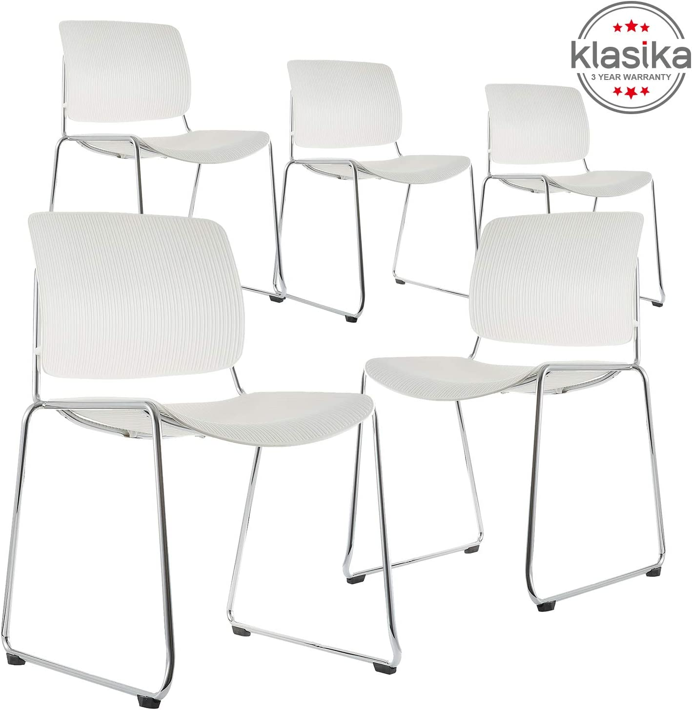 KLASIKA Reception Stacking Chair with Lumbar Support and Solid Steel Frame for Guest Home Office Conference Breakroom Set of 5 Black