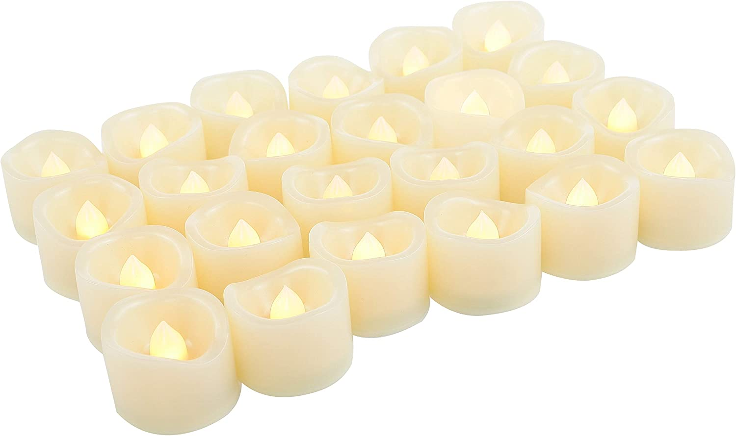 24 Pack LED Tea Lights Battery Operated Flameless Candles Fake Flickering Electric Tealight Candle Set for Home Décor Party Wedding Easter Decorations Batteries Included, Wave Open, Cream White