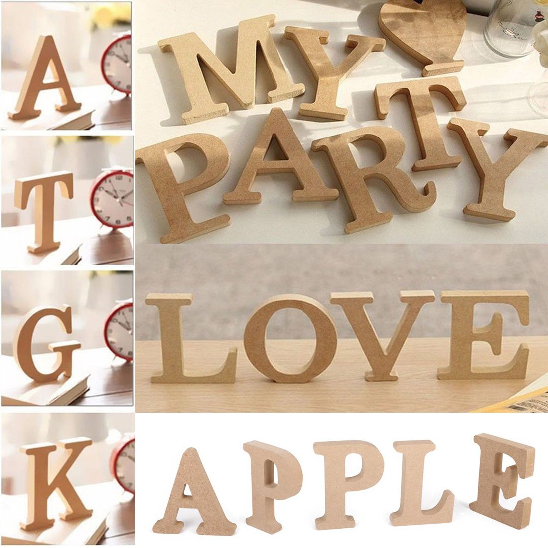FUT_Forever 26 Larege A-Z Wooden Alphabet Ornaments Crafts Letters Hanging Wall Letters Decorative for Bedroom Wedding Birthday Party Home
