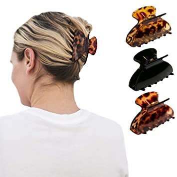 2 Pieces Large Acrylic Hair Claw Grips Clip for Thick Hair Ponytail Holder