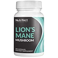 Nutrifect Nutrition Lion's Mane Mushroom, Ancient Smart Drug for Brain Health, Nerve Support, Natural Energy Without Caffeine, Healthy Heart, Natural Adaptogen Delivers What You Need All Day, 60 Caps