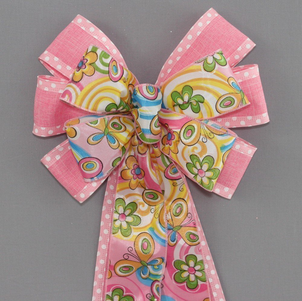 Pink Dot Floral Butterfly Spring Easter Wreath Bow - 9