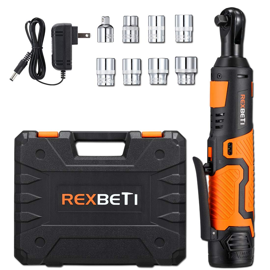 REXBETI Cordless 3/8'' Electric Ratchet Wrench Set with 12V Lithium-Ion Battery and Charger Kit, Include 7-piece 3/8'' Metric Sockets and 1-piece 1/4'' Socket Adapter, 45Nm of Maximum Torque